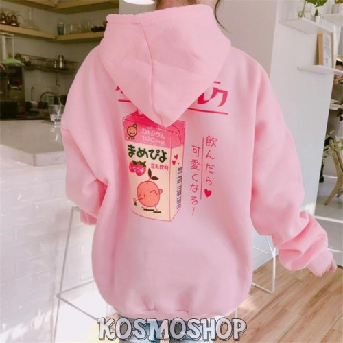 'Milk Heart' hoodie - pink, cute, peachy, strawberry, aesthetic