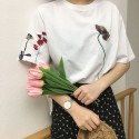 'Floral'  embroidery t-shirt
