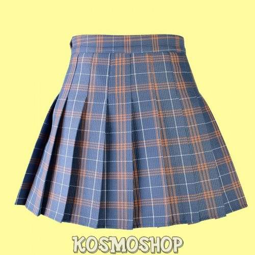 High waist plaid pleated grey yellow skirt