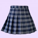 High waist plaid pleated navy blue skirt