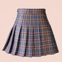 High waist plaid pleated grey skirt