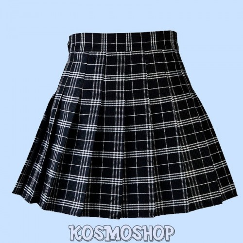 High waist plaid pleated black skirt