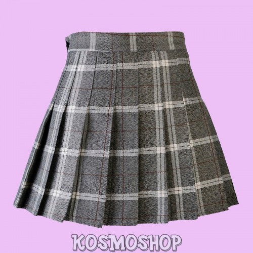 High waist plaid pleated grey brown skirt