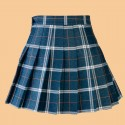 High waist plaid pleated dark blue skirt