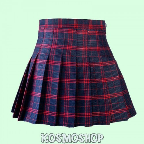 High waist plaid pleated blue red skirt
