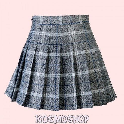 High waist plaid pleated grey blue skirt
