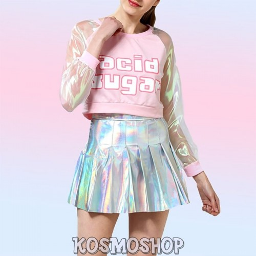 Holographic crop top + skirt suit