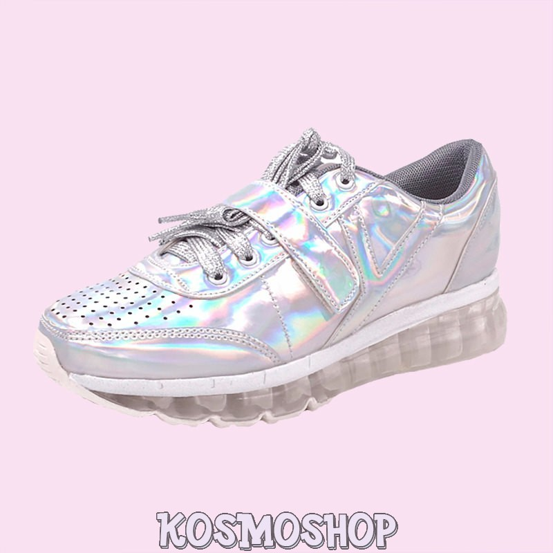 Alien silver holographic sneakers