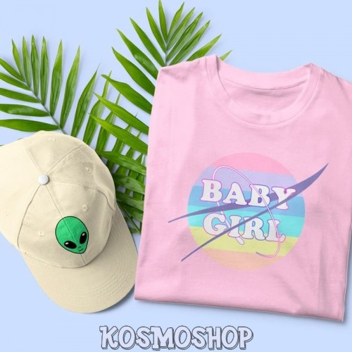 'Baby girl'  pastel rainbow t-shirt