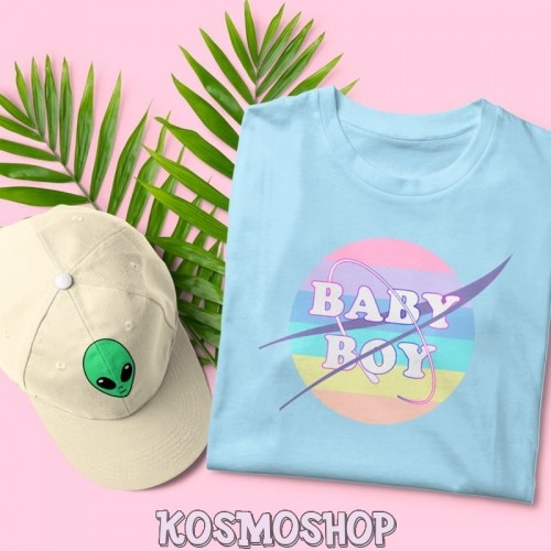 'Baby boy' pastel rainbow t-shirt
