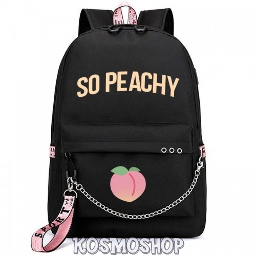 "Рюкзак с цепью ""So peachy"" Kosmoshop Персик USB-порт"