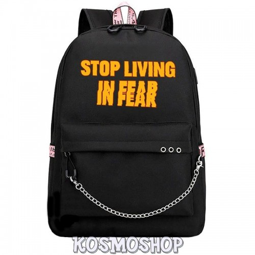 "Рюкзак с цепью ""Stop living in fear"" Kosmoshop"