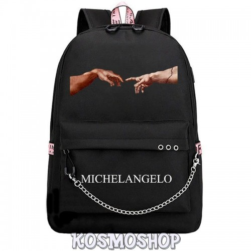 'Creation of Adam' Michelangelo Kosmoshop chained backpack