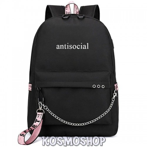 "Рюкзак с цепью ""Antisocial"" Kosmoshop USB-порт"