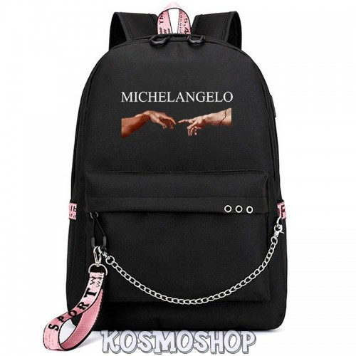 "'Creation of Adam""  Michelangelo Kosmoshop chained backpack"