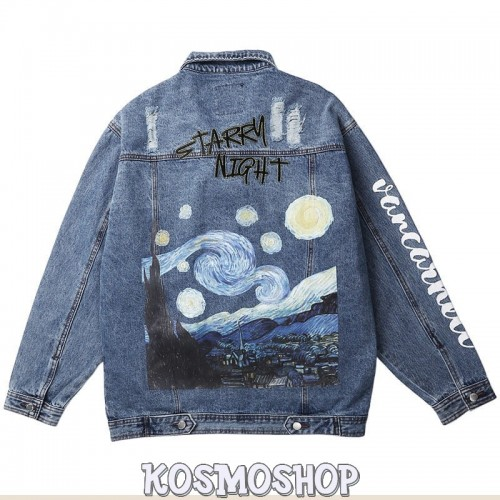 'Van Gogh Starry night' denim jacket - Art Aesthetic Painting