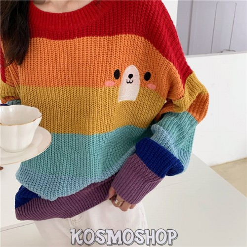 'Rainbow' sweater - bear, embroidery, colorful