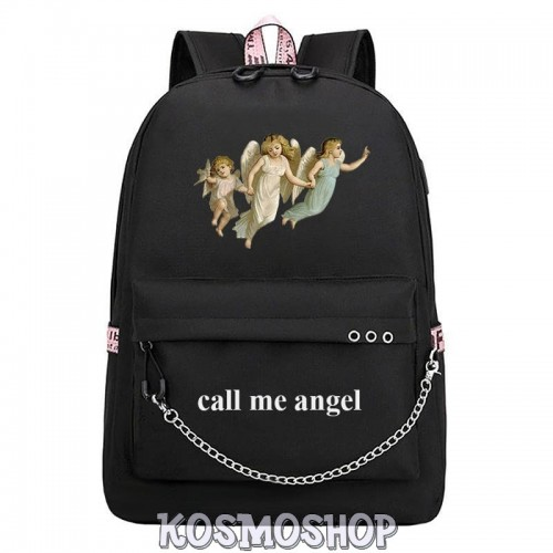 "Рюкзак с цепью ""Call me angel"" Kosmoshop порт для USB и наушников"