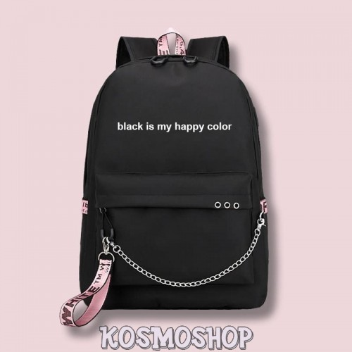"Рюкзак с цепью ""Black is my happy color"" Kosmoshop порт для USB и наушников"