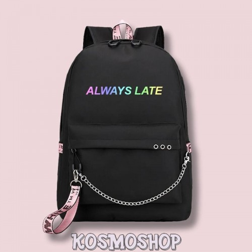 "Рюкзак с цепью ""Always late"" Kosmoshop порт для USB и наушников"