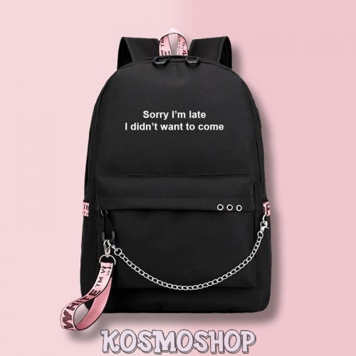 "Рюкзак с цепью ""Sorry I'm late"" Kosmoshop порт для USB и наушников"