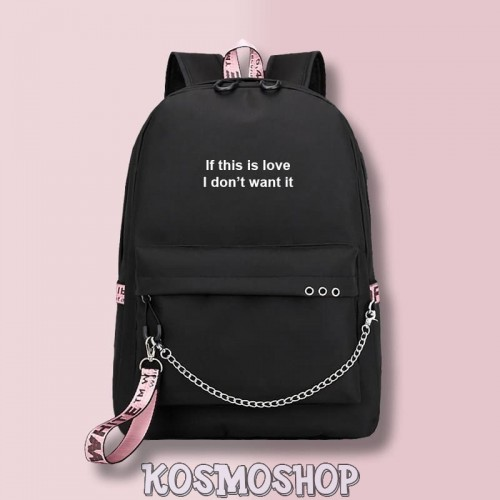"Рюкзак с цепью ""If this is love, I don't want it"" Kosmoshop порт для USB и наушников"