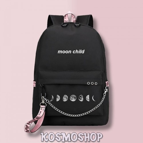 "Рюкзак с цепью ""Moon child"" Kosmoshop порт для USB и наушников"