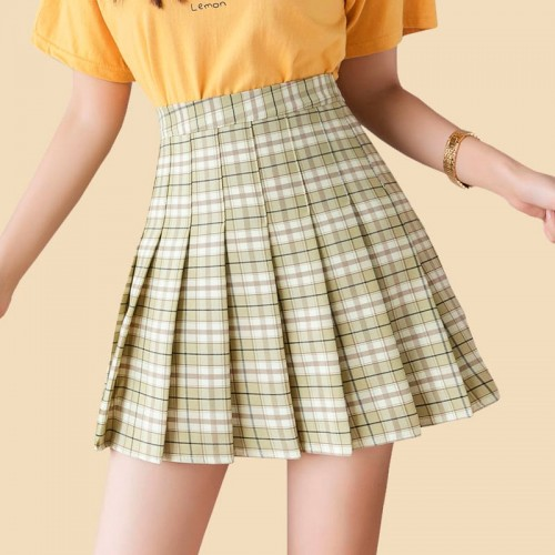 'Aesthetic grid' skirt - pleated, high waist, plaid, cute