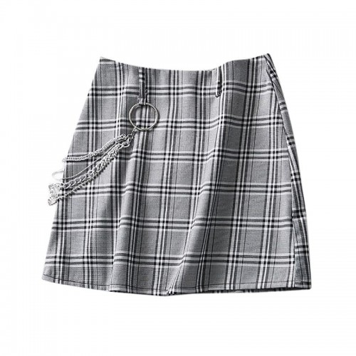 'Chains' skirt - aesthetic, grey, plaid