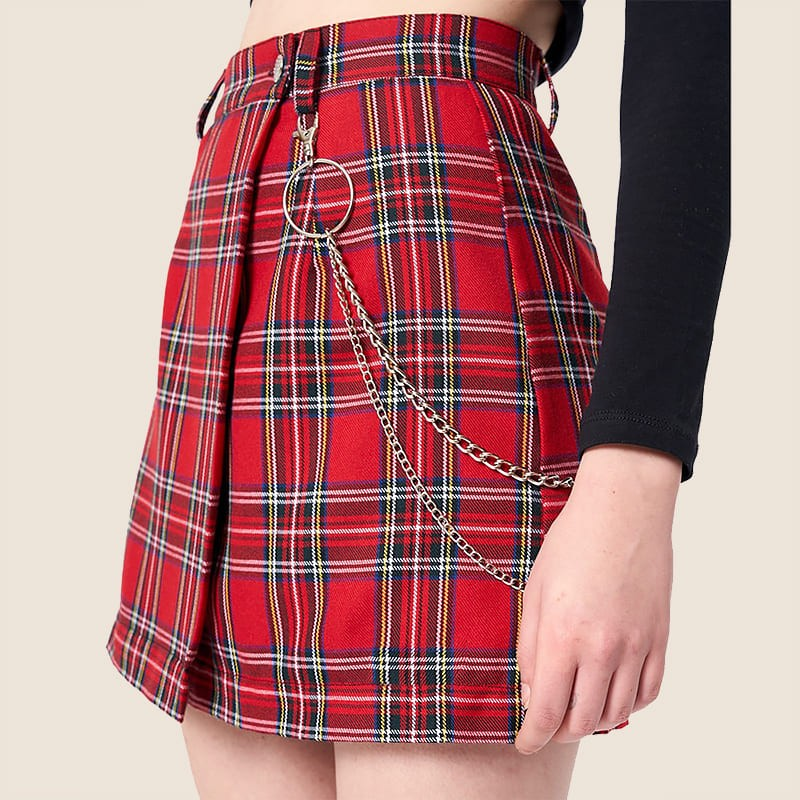 'Chains' skirt - aesthetic, red, plaid