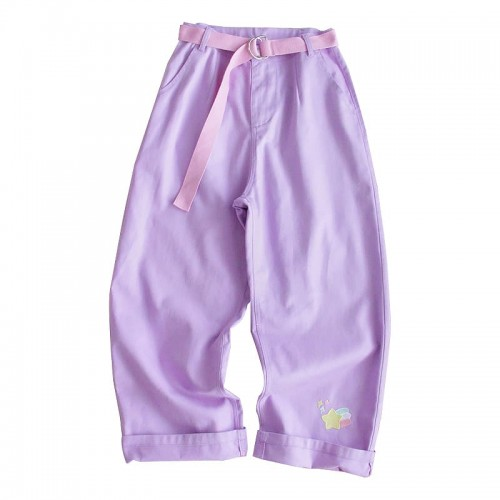 'Kawaii Japan' jeans - purple, with the belt, pastel, embroidery