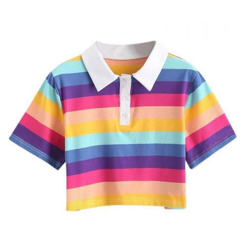 'Pastel rainbow' crop shirt