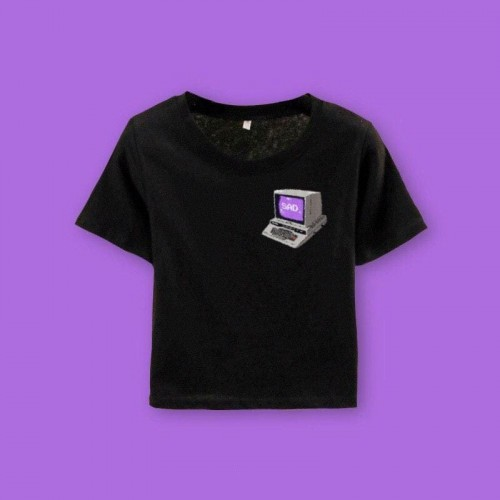 'Sad' crop top - 2000s aesthetics, geek, e-girl, computer