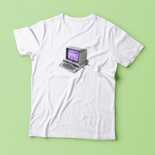 'Sad' t-shirt - 2000s aesthetics, geek, e-girl, computer