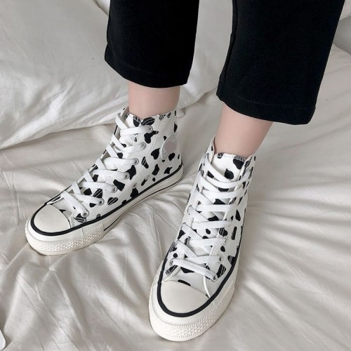 'Cow stories' canvas shoes