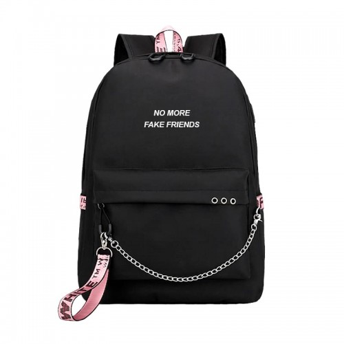 """No more fake friends"" chained backpack + fluffy pompom gift!"