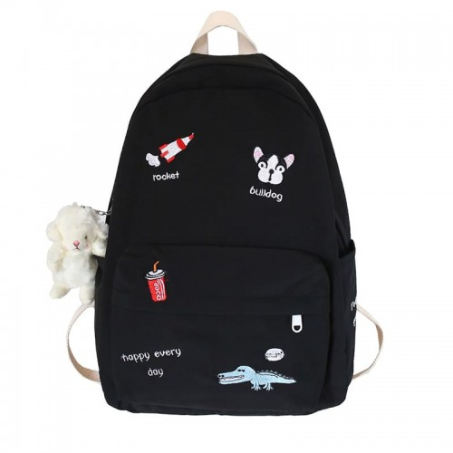 'Happy every day' embroidery backpack