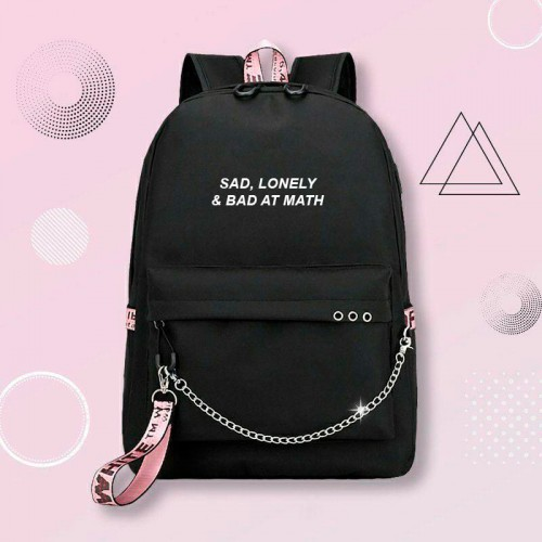 'Sad, lonely and bad at math' backpack
