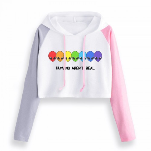 'Humans aren't real' crop top - rainbow, alien