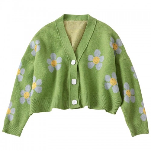 'Happy flowers' crop cardigan