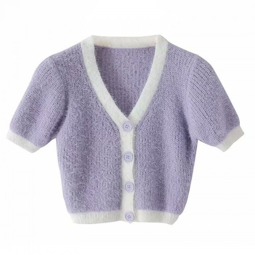 Crop cardigan - knitted, sweater