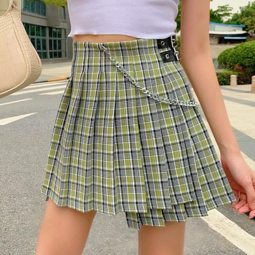 'Pleated' chained skirt