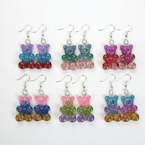 'Glitter gummy bear' earrings