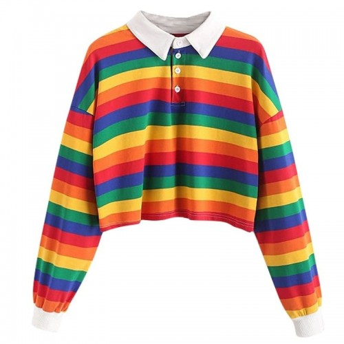 'Rainbow' crop shirt