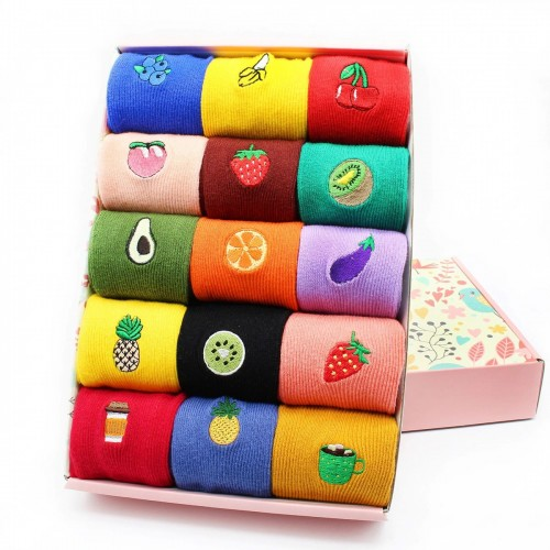 'Fruity' embroidery socks set 15 pcs