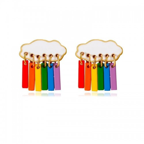 'Rainbow rain' earrings - cute, cloud, aesthetic